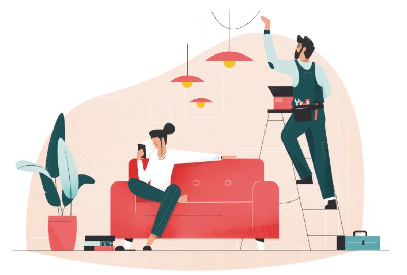 Illustrasjon av dame i sofa og mann som fikser